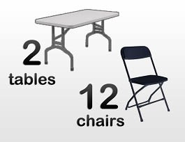 2 rectangular tables and 12 chairs for rent