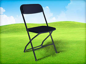 black plastic resin folding chair for rent