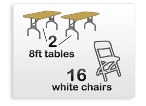 2 8ft Rectangle Tables & 16 White Chairs