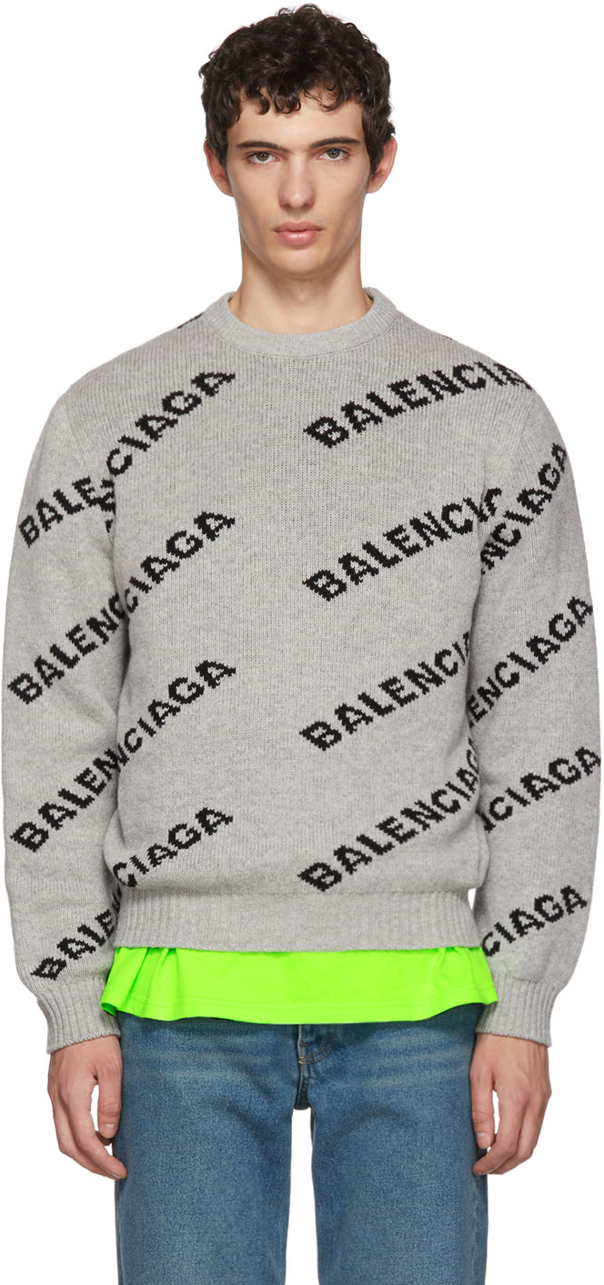 Balenciaga Grey & Black All Over Logo Crewneck Sweater