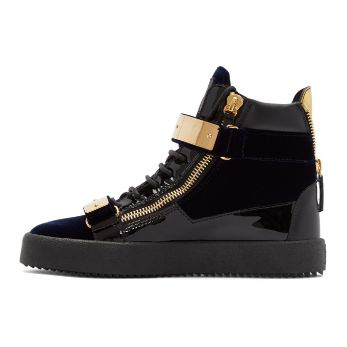 Giuseppe Zanotti Navy Velvet May London High-Top Sneakers free shipping lowest price gvidIoC0Dq