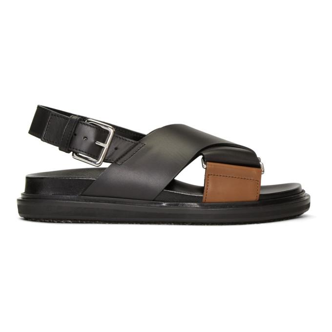 Black and Brown Fussbett Sandals Marni V4fCupIHg