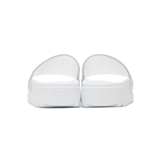 Versus Transparent & White Logo Slides chaud La Sortie Peu Coûteux Vente Pas Cher 2018 pOBQT8s3