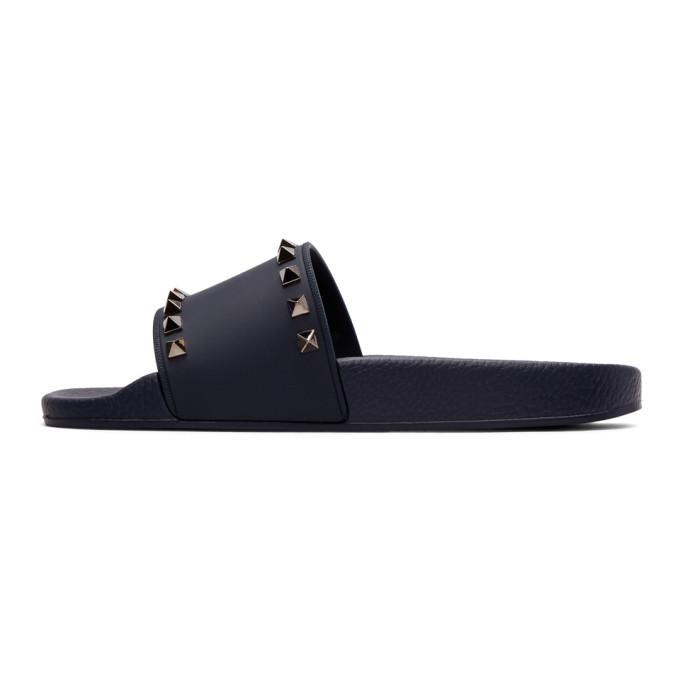 Valentino Navy Valentino Garavani PVC Rockstud Slides tCWSsYY6w