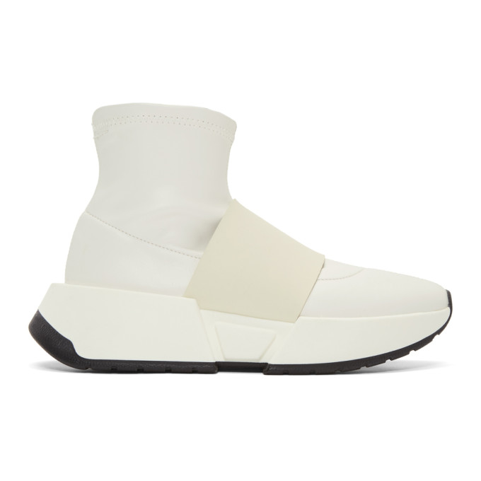 MM6 Maison Martin Margiela White Leather Sock High-Top Sneakers 2w6RIbVmQ