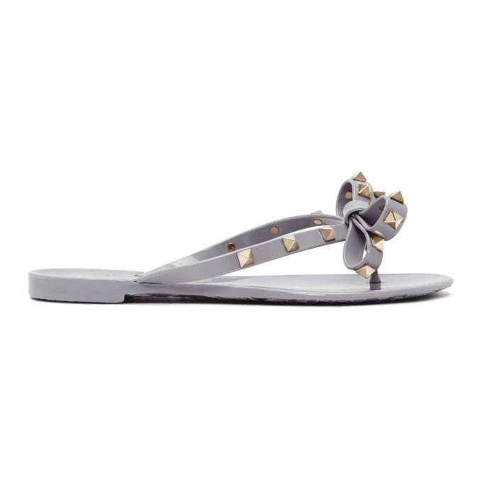 Valentino Grey Valentino Garavani Rockstud Jelly Bow Sandals gvRxOljIBY