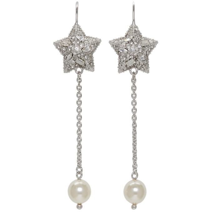 Silver Pearl and Crystal Star Long Earrings Miu Miu WbXHtKfps