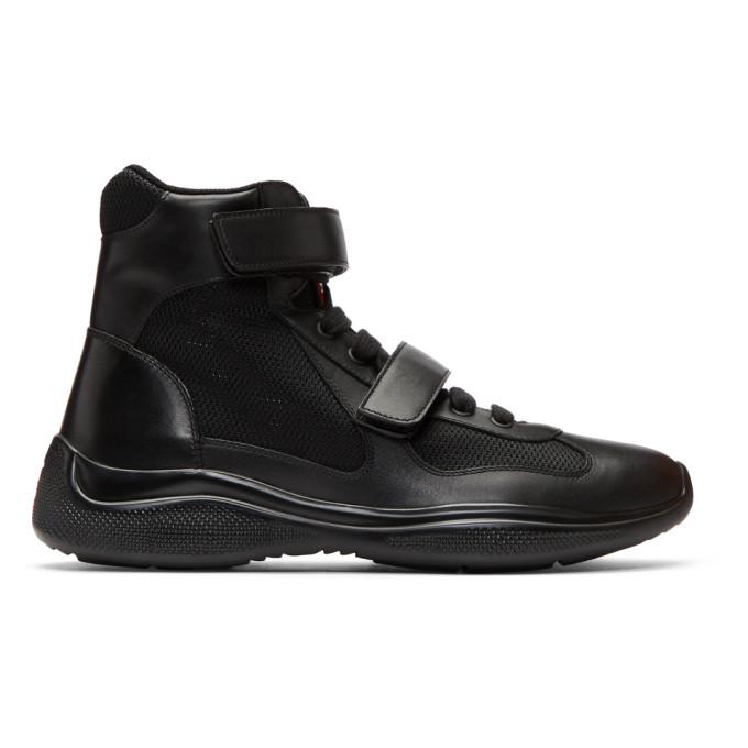 Prada Black Leather & Mesh Velcro High-Top Sneakers Jeu Acheter SRtkTc
