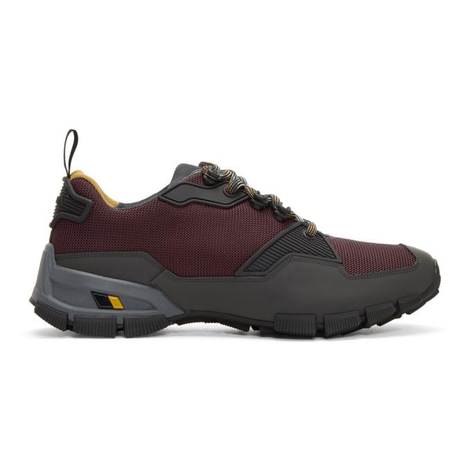 Prada Burgundy & Grey Technical Sneakers yIjQFNF4