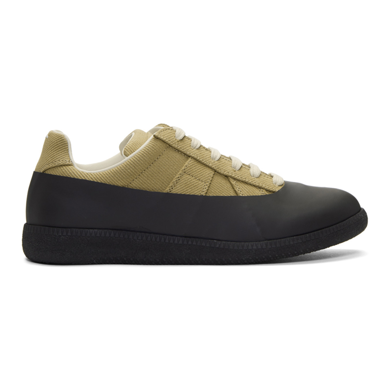 Maison Margiela Khaki & Black Galosh Replica Sneakers