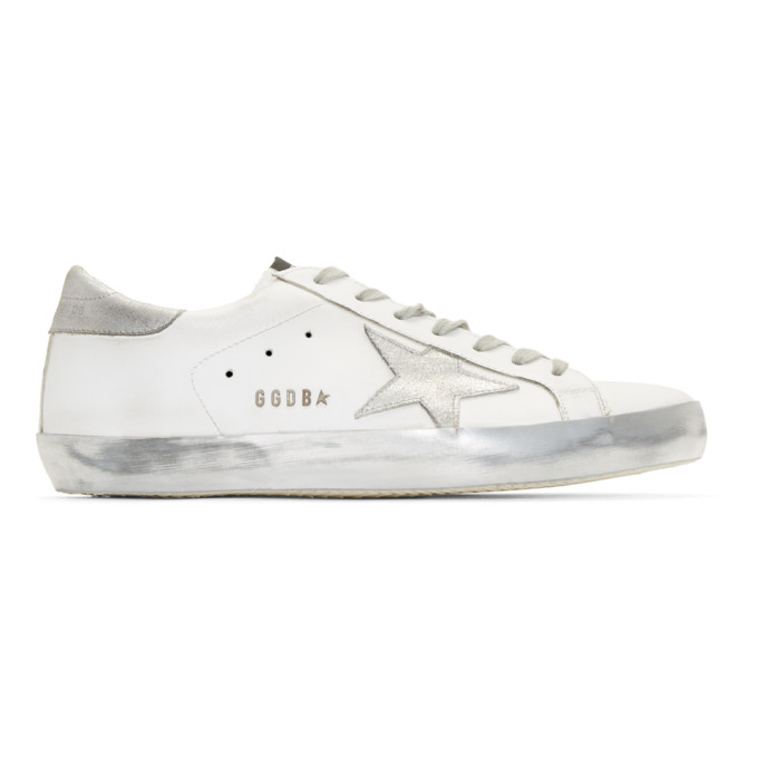 White Sparkle Superstar Sneakers by Golden Goose