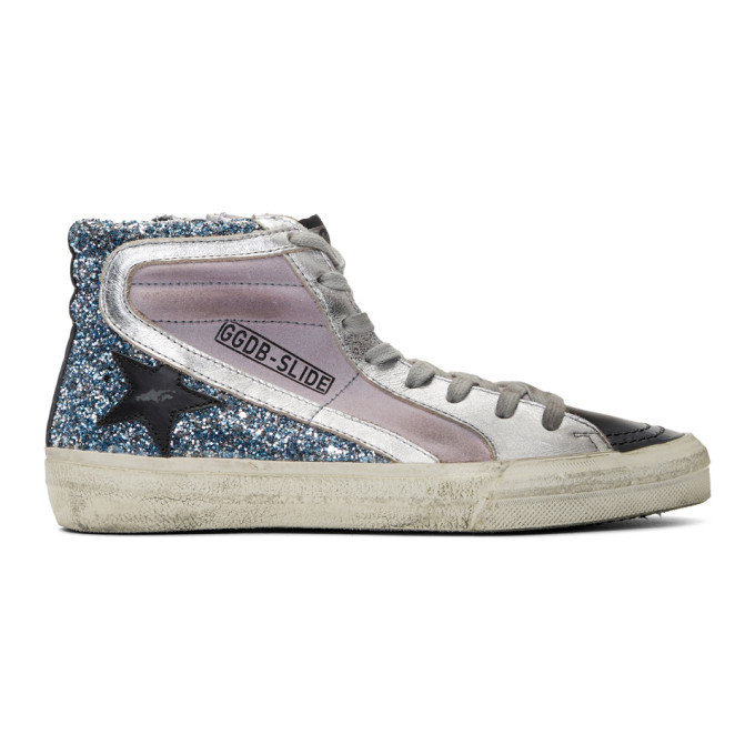 Silver and Red Glitter Slide High-Top Sneakers Golden Goose