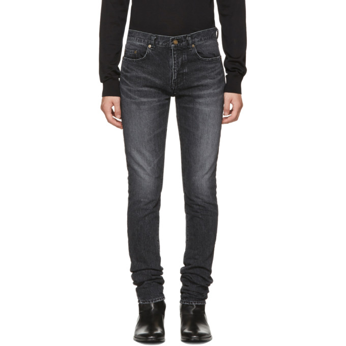Black Low Waisted Skinny Embroidered Jeans by Saint Laurent