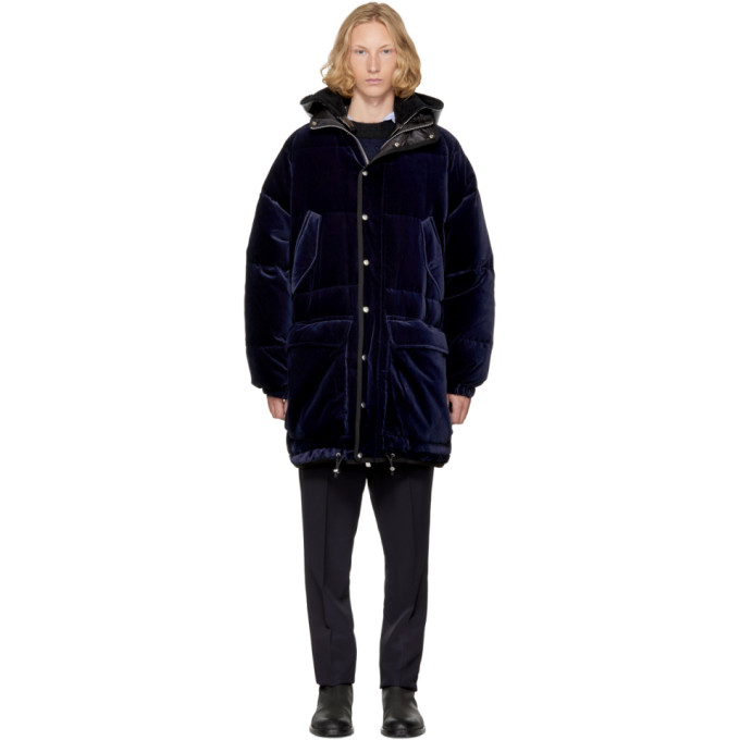 Navy Down Velvet Jacket by Sacai