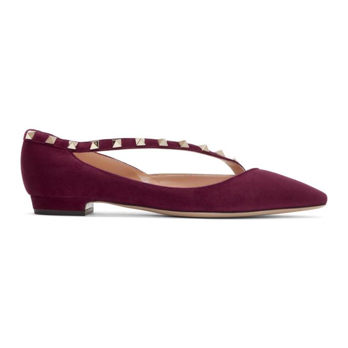 Stella McCartney Grey Valentino Garavani Rockstud Ballerina Flats