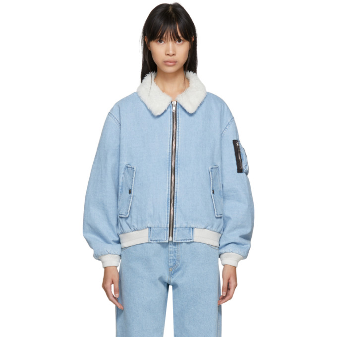 Gosha Rubchinskiy Blue Faux-Shearling Denim Jacket