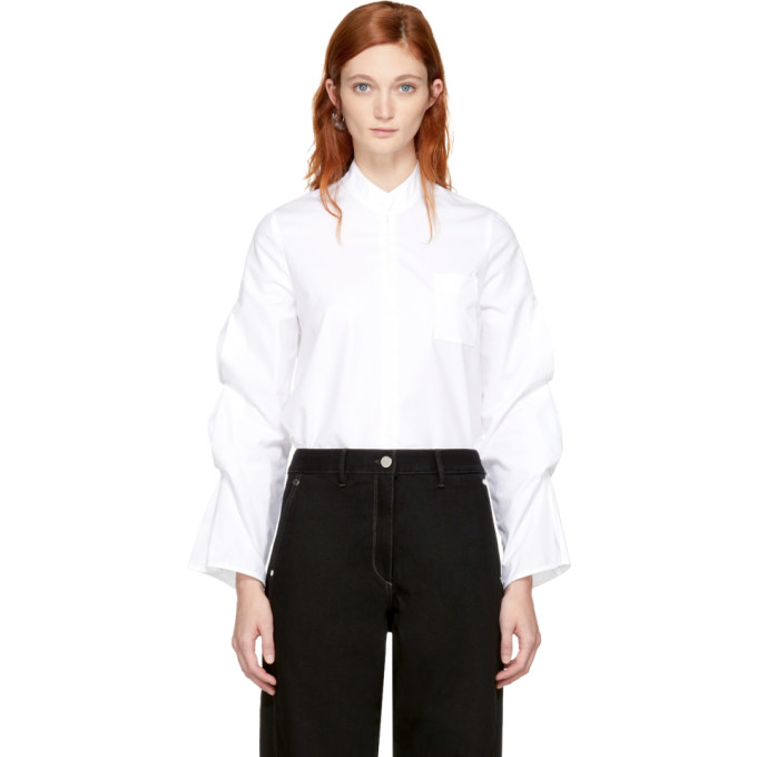 VEJAS Vejas White Gathered Puff Sleeve Blouse