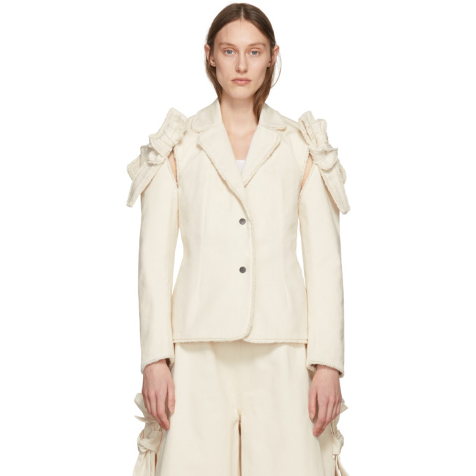 ROBERTS WOOD Roberts | Wood Off-White Twill Removable Sleeves Blazer in Off White
