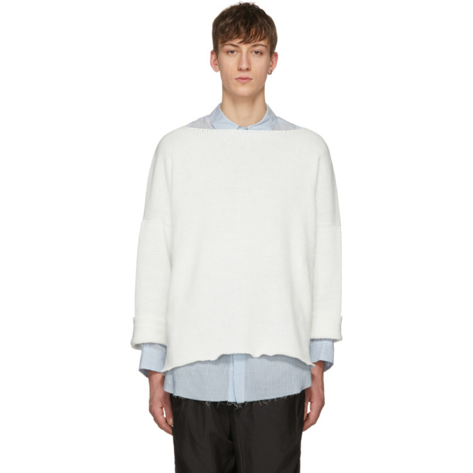 SULVAM Sulvam White Oversized Open Neck Sweater in Wht 1
