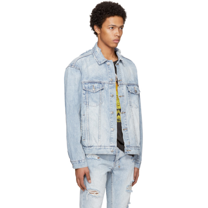 Shop Ksubi Blue Travis Scott Edition Denim Oh G Ghosted Jacket 4b82e6815
