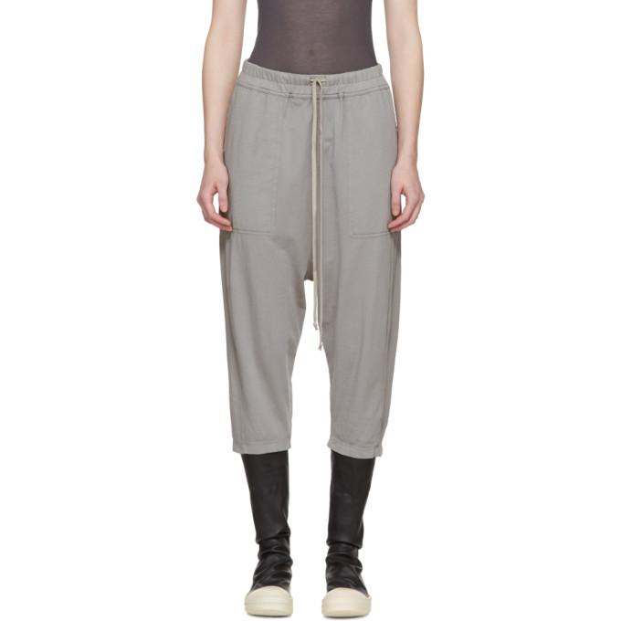 Grey Drawstring Cropped Lounge Pants by Rick Owens Drkshdw