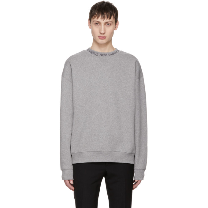 ACNE STUDIOS Flogho Logo-Print Mélange Fleece-Back Cotton-Jersey Sweatshirt, Lt Grey Mel