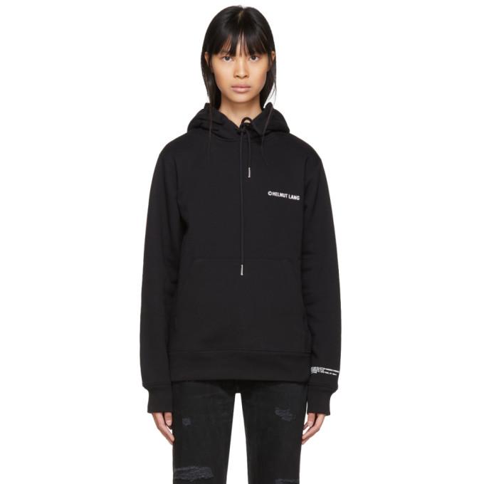 Copyright-Print Hooded Cotton Sweatshirt, Black