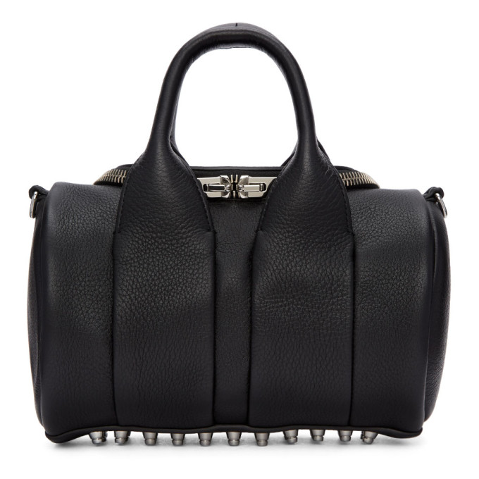 Mini Rockie - Nickel Leather Satchel - Black, 001 Black