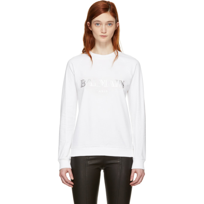 White Logo Sweatshirt by Balmain