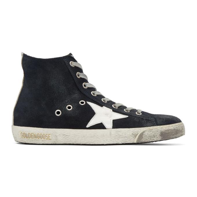Navy Suede Francy High Top Sneakers by Golden Goose