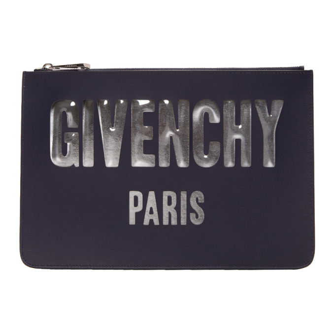 Navy Medium Logo Pouch by Givenchy