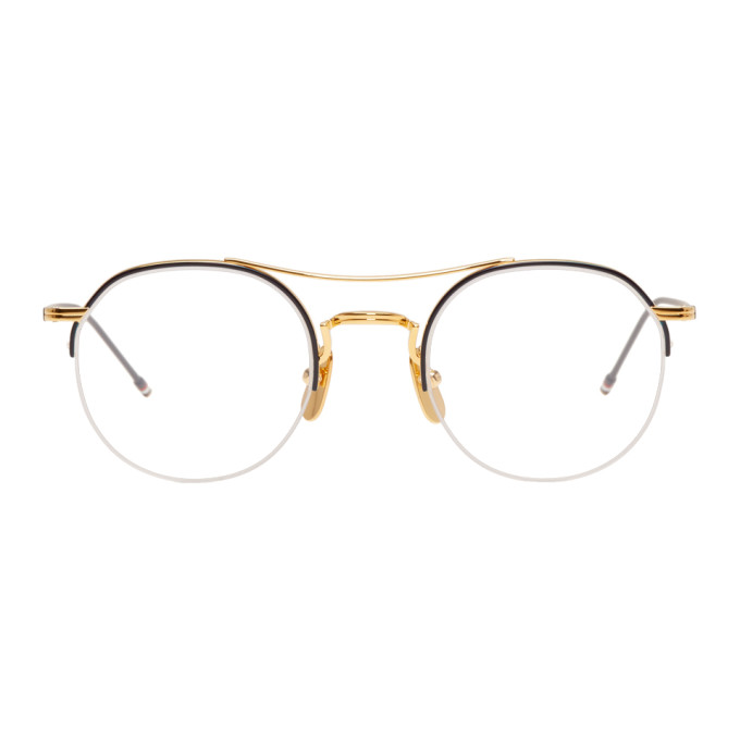 d38a19141e9 Thom Browne Gold And Navy Tb-903 Glasses In Gold Navy
