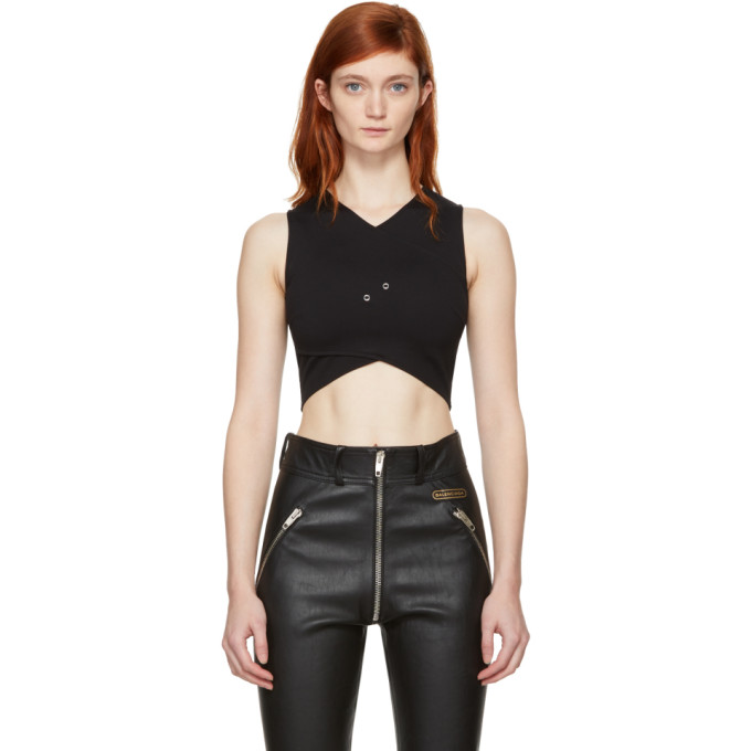 Versus Black Cropped Cross-Over Safety Pin Top
