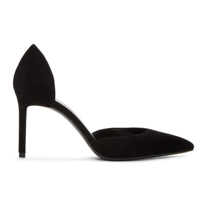 SAINT LAURENT BLACK SUEDE DORSAY HEELS