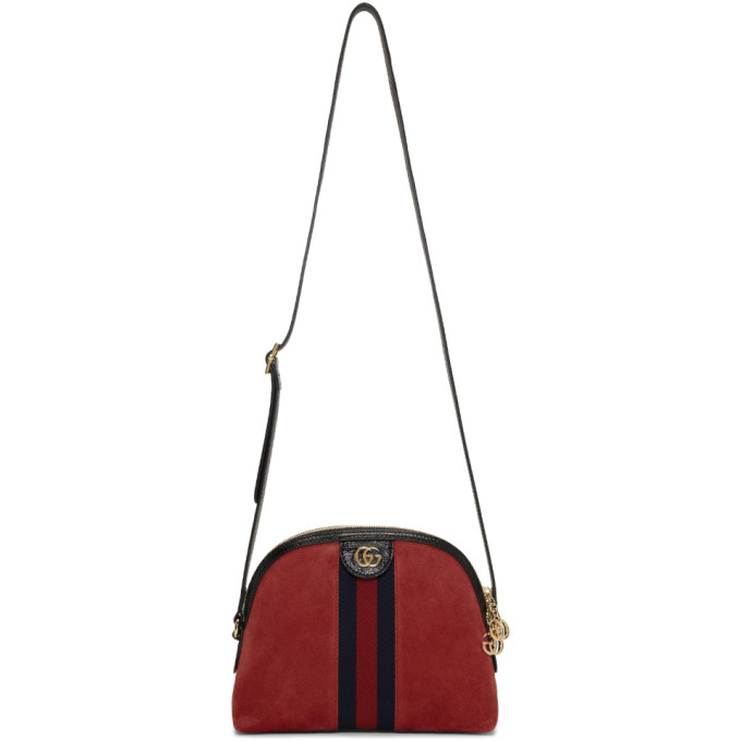 Ophidia Suede Crossbody Bag in Red