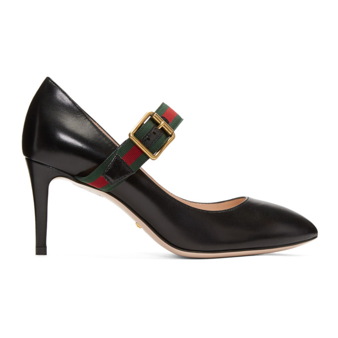 df84bb27810 Gucci Sylvie Grosgrain-Trimmed Leather Pumps In Black