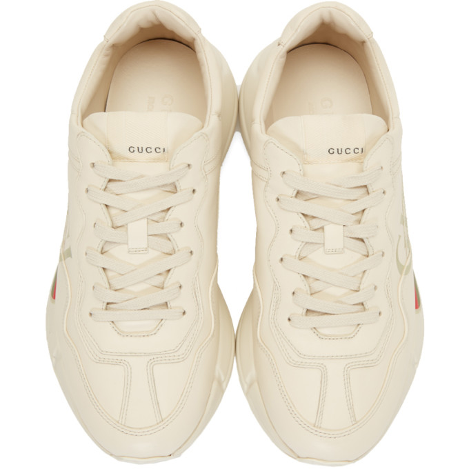 Gucci Rhyton Logo-Print Low-Top Leather Trainers In White Multi