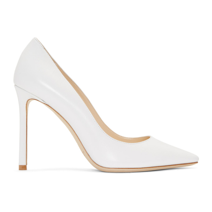 Romy 100 Optic White Kid Leather Pointy Toe Pumps from Jimmy Choo