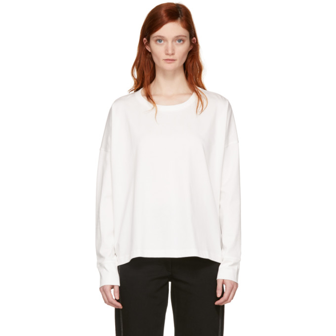 White Long Sleeve Loop T Shirt by Studio Nicholson