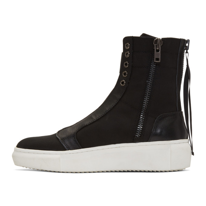 Black Back Zip High-Top Sneakers D by D