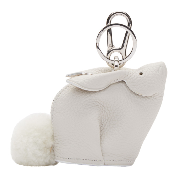 LOEWE Bunny Shearling-Trimmed Textured-Leather Bag Charm in White
