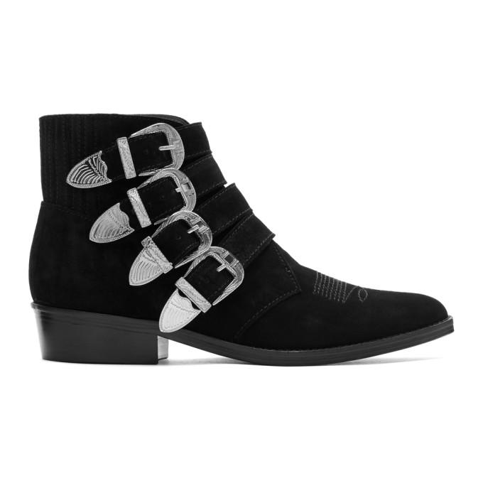 TOGA VIRILIS Black Suede Four-Buckle Boots