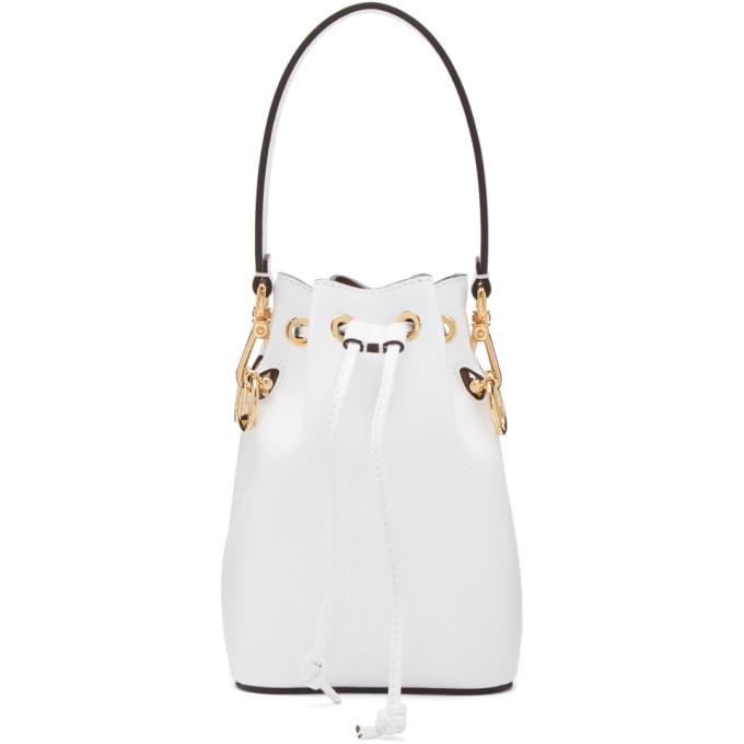 Fendi Leathers White Mini 'Mon Tresor' Bucket Bag