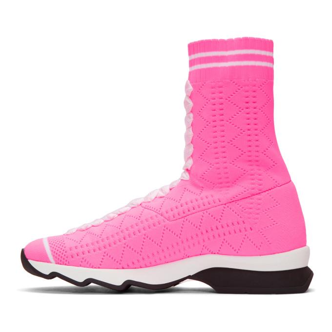 Fendi Pink Sock High-Top Sneakers
