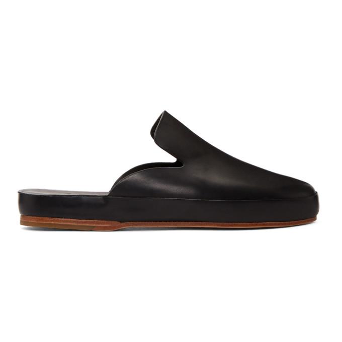 Black Hand Sewn Slide Loafers