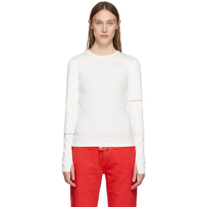 White Long Sleeve Ribbed T-Shirt