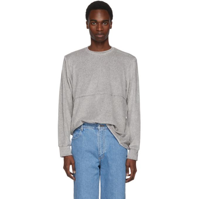 ECKHAUS LATTA Eckhaus Latta Grey Velour Lapped Sweater in Dove Grey