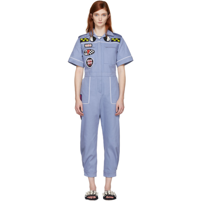 Blue Denim Mechanic Jumpsuit by Miu Miu