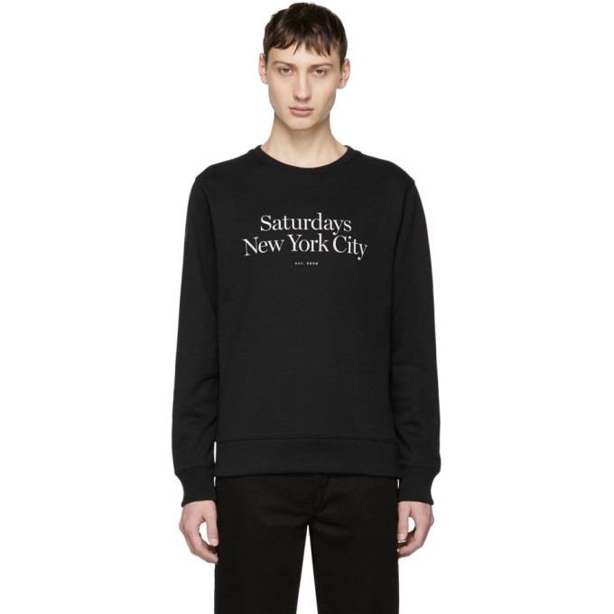 SATURDAYS SURF NYC Bowery Miller Logo-Embroidered Loopback Cotton-Jersey Sweatshirt in Black