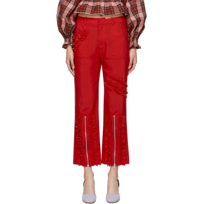 MOLLY GODDARD Molly Goddard Ruched Stripe Cropped Trousers - Red